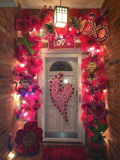 valentines day decorated front door valentines garland