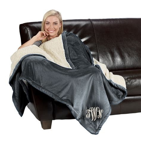 Monogrammed Sherpa Throw Blanket, Housewarming Gifts for