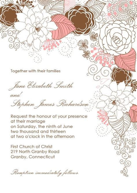 Garden With Floral Border Wedding Invitation   Free