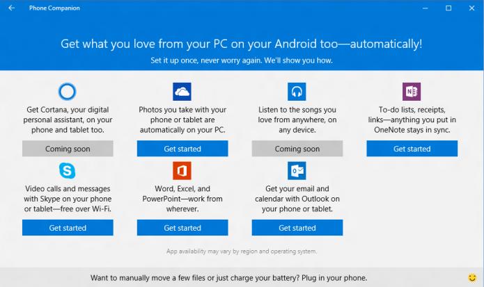 O aplicativo Phone Companion do Windows auxiliará na configuração do seu smart Android ou iOS (Foto:/Divulgação/Microsoft)