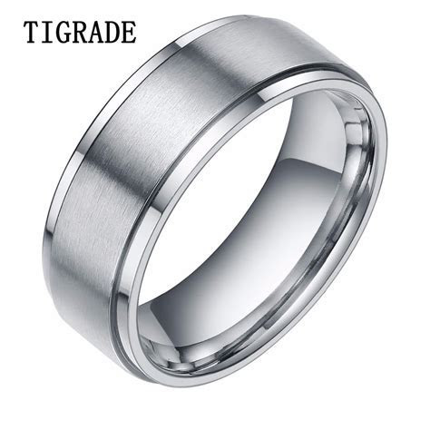 8mm Silver Tungsten Carbide Ring Men High Polished Edges