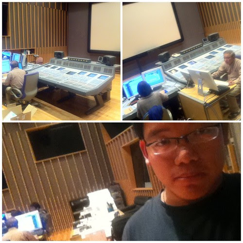 In the audio mixing room