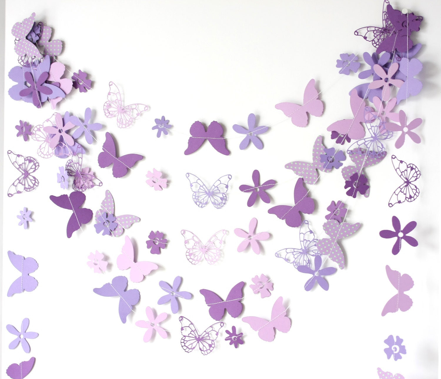 purple paper garland with flowers and butterflies birthday party  wedding easter bridal shower baby shower - ksenchik30