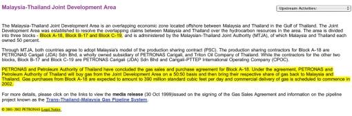 Petronas Statement JDA 1