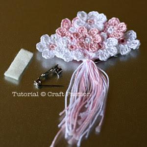crochet flower brooch material