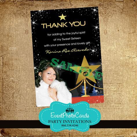 Hollywood Awards Thank you Card for Birthday Party