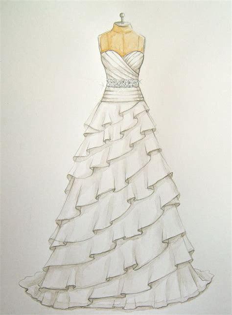 Custom Wedding Dress Illustration/sketch (on dress form