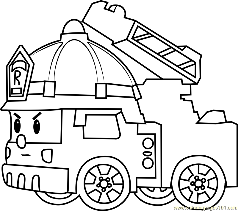 - Roy Fire Truck Coloring Page Free Robocar Poli Coloring Pages :  ColoringPages101.com - Coloring Pages