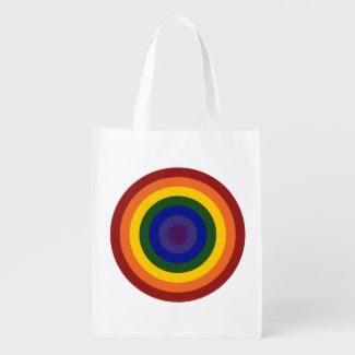 Rainbow Bullseye Grocery Bags
