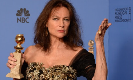 Jacqueline Bisset with the award for her role in Dancing on the Edge.