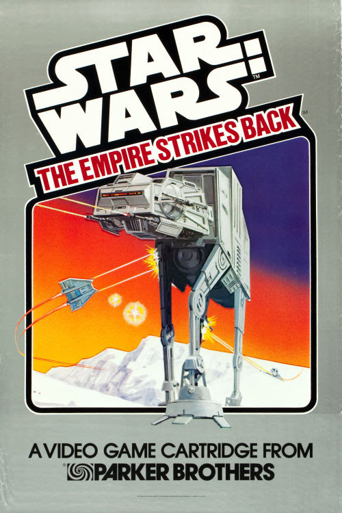 howtoraiseageek:<br /><br />gameraboy:<br /><br />Poster for the Atari 2600 Empire Strikes Back game, 1982<br /><br />I had that game.<br />Silly Empire.  Installing those glowing squares on the shoulders of those AT-ATs.  So easy to shoot.<br />