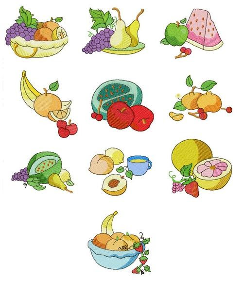 Patterns - MACHINE EMBROIDERY DESIGN SET - FRUIT (10 PICTURES, 12 ...