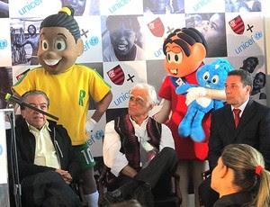 Maurício de Souza, Ziraldo e Luxemburgo no evento do Flamengo com a Unicef (Foto: Richard Souza / GLOBOESPORTE.COM)