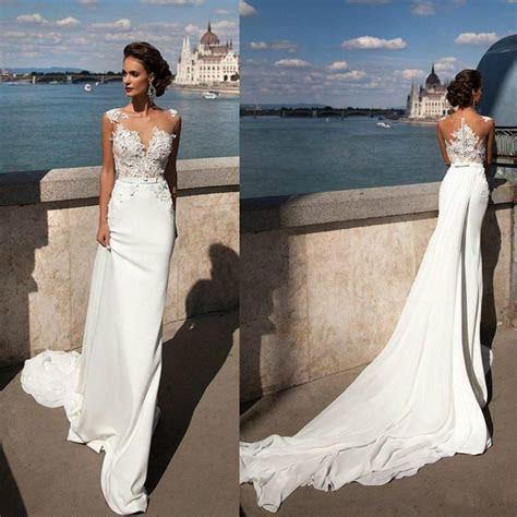 Princess Mermaid 2016 Lace Wedding Dresses Sheer Neck