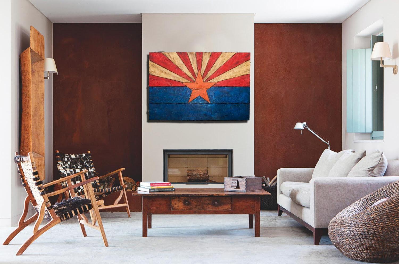 Arizona Flag Handmade Distressed Painted Wood Vintage Art Distressed Weathered Az Arizona Flag Art Home Decor Wall Art Blue Chris Knight Creations