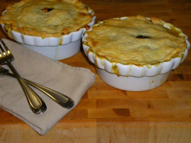 Personal Chicken Pot Pies with Butternut Squash & Spinach