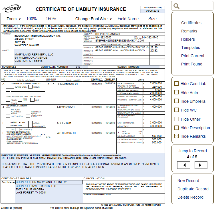 Choices | 800-873-4757 Free ACORD Forms - Frequently Used