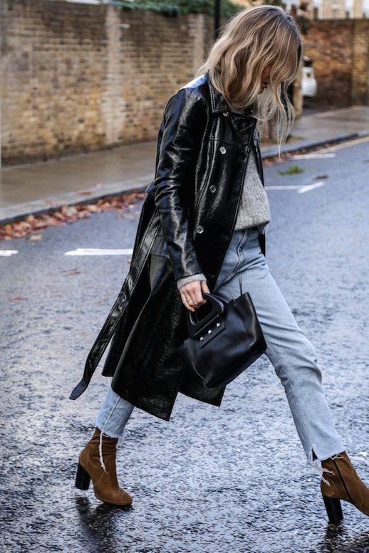 Le Fashion Blog Patent Trench Coat Gray Sweater Light Wash Levis Camel Heeled Boots Via Fashion Me Now