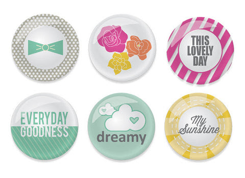Cloud 9 Flair Buttons - 6 pcs