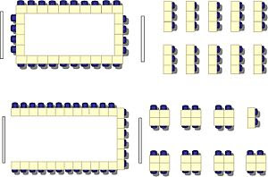 English: Multimedia classroom seating arrangement.