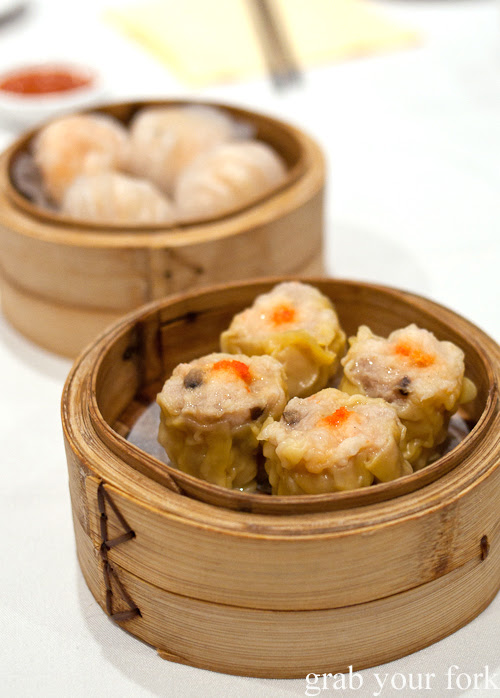 Siu mai pork dumplings at yum cha, The Eight, Chinatown