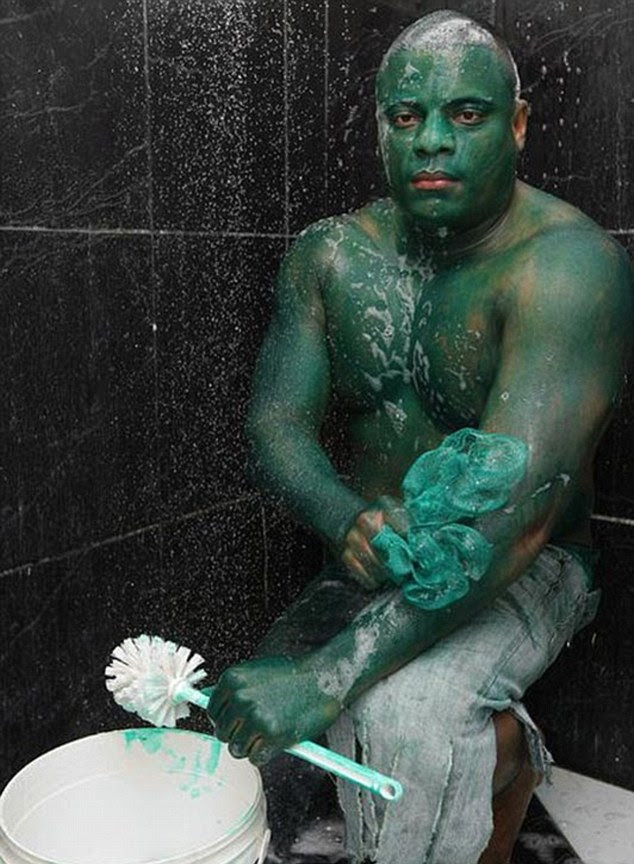 Colour crisis! Hulk prankster Enrique dos Santos was left red-faced when his green paint refused to budge