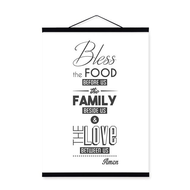 Black And White Food Family Love Quotes Wooden Framed Posters Prints