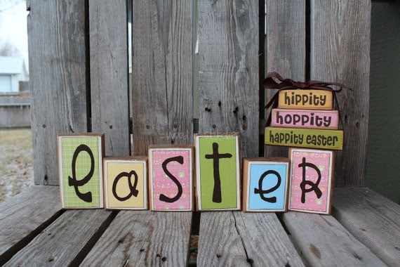 Easter Wood Block Set home seasonal spring easter bunny egg chick gift personalized shelf sitter primitive block set photography prop