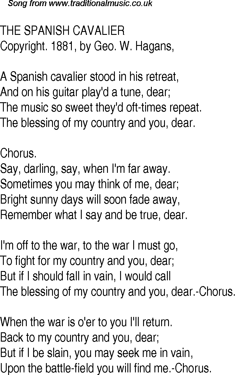 Old Time Song Lyrics For 16 The Spanish Cavalier