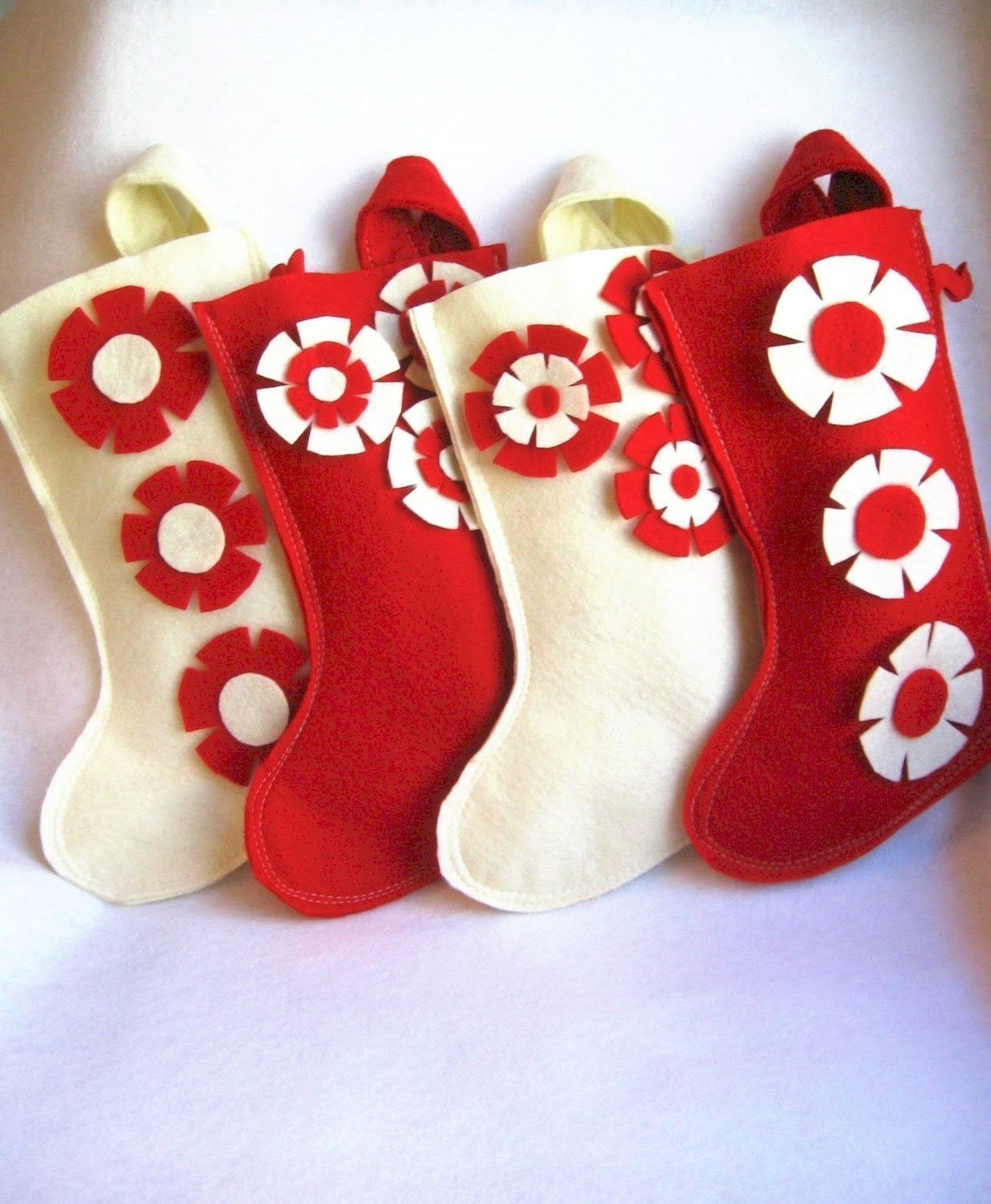 your choice of one red and white OR red and cream holiday stocking