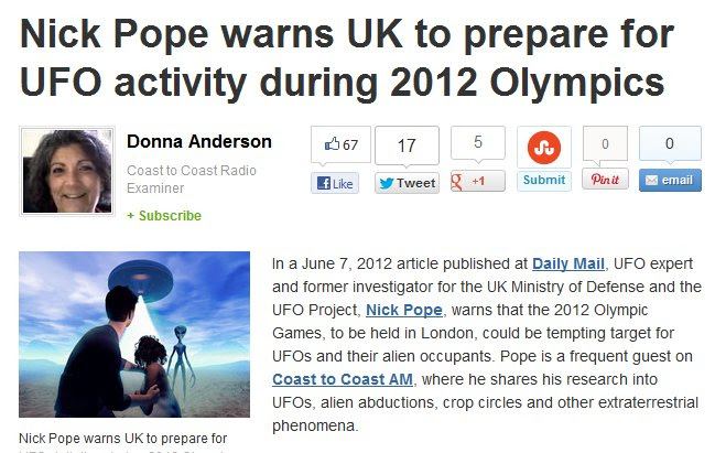 Are We Being Set Up For Project Bluebeam or Alien Wars at the 2012 Olympics?   in5d Alternative News