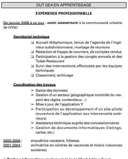 example resume  exemple cv etudiant alternance