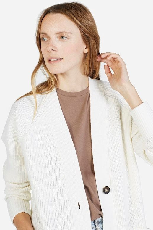 Le Fashion Blog Longline Cardigan Neutral Long Sleeve Tee Via Everlane