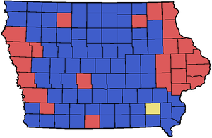 English: 2008 Iowa Republican Caucus county Ma...