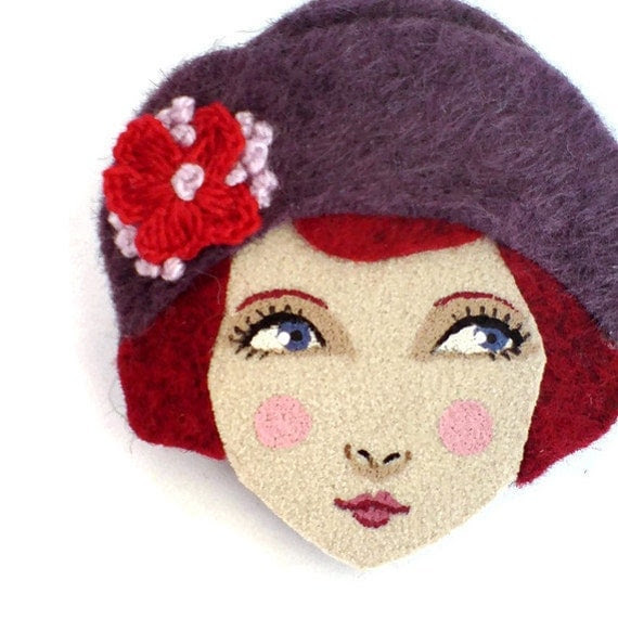 Felt brooch - Louise, Pretty 1920s girl, purple, red, brick, woman face