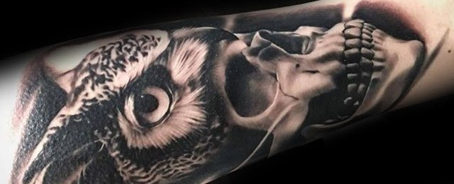 50 Owl Skull Tattoo Designs For Men Cool Ink Ideas