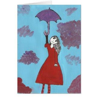 The Umbrella Girl Greeting Card