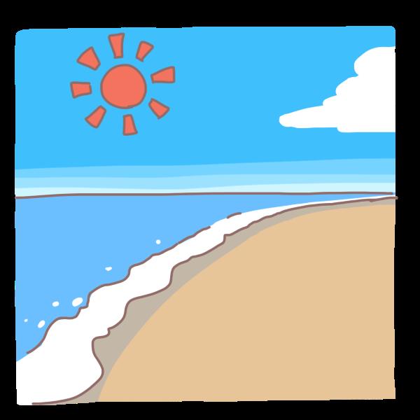 青い空と青い海のイラスト かわいいフリー素材が無料のイラストレイン