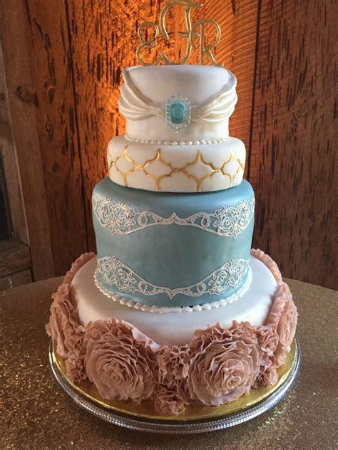 Emily's Ruffled Rosette Wedding Cake   CakeCentral.com