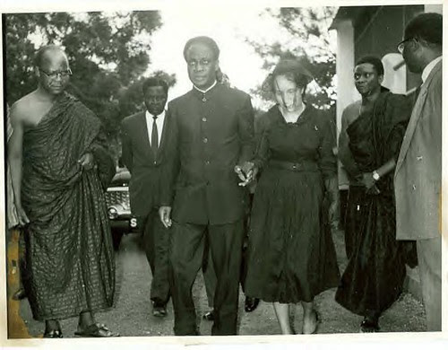 Kwame Nkrumah escorts Shirley Graham DuBois at the funeral of WEB DuBois in Ghana, August 1963. by Pan-African News Wire File Photos