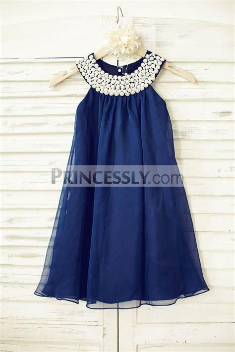 Boho Beach Navy Blue Chiffon Wedding Flower Girl Dress