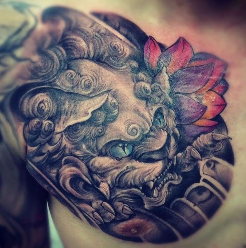 Chinese Lion Head With Red Lotus Tattoo On Shoulder Tattoos Book