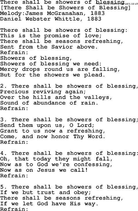 There Shall Be Showers Of Blessing Song Lyrics