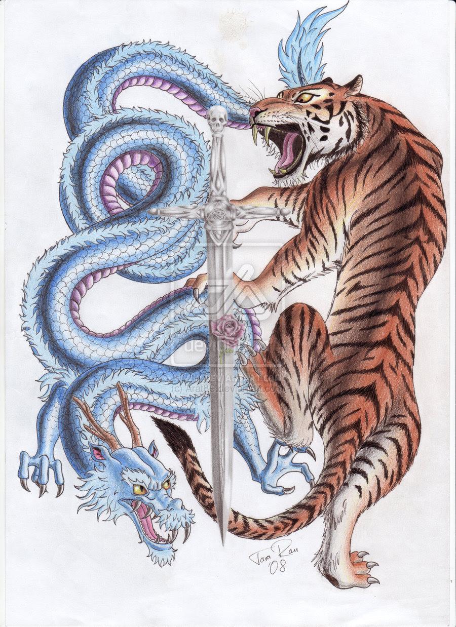 Grey Ink Dragon And Tiger Tattoo Design