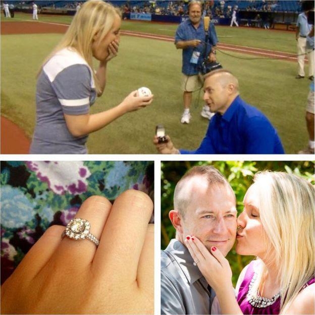 Cameron pede Melissa em casamento; no detalhe, o casal e o anel de noivado