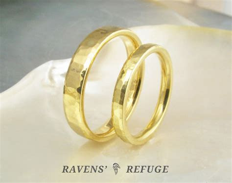 21k gold wedding bands ? hand forged wedding rings