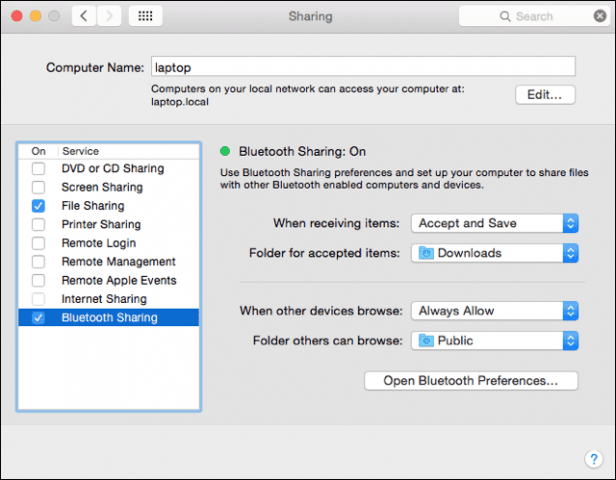 Bluetooth Sharing on the Mac