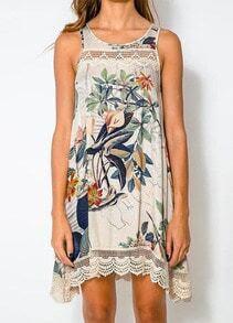 White Sleeveless Floral Peplum Hem Loose Dress
