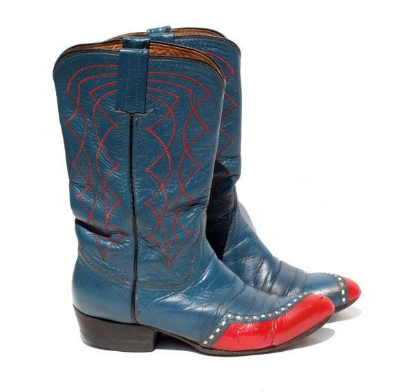 size 6 vintage leather blue cowboy boots