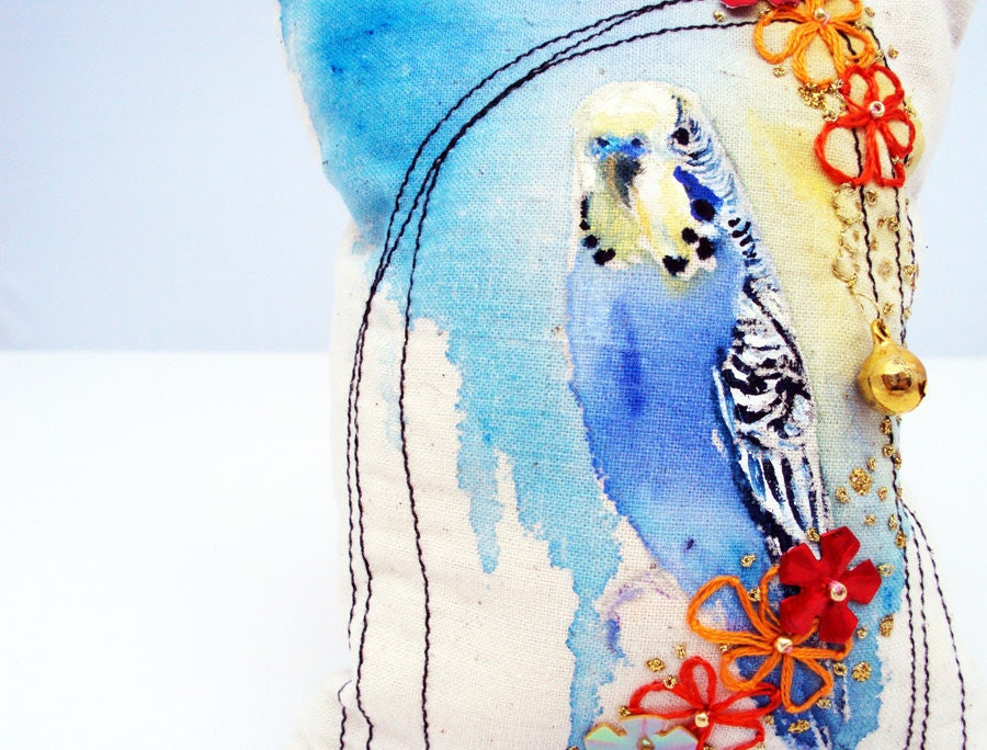 Budgie painting original. Embroidered and painted bird. Miniature cushion. Flower Budgie. Original by MimiLove